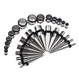 Eigso 28Pcs 316L Surgical Stainless Steel Ear Stretching Kit Taper Plugs Tunnel Gauges Expander 12G-00G Silver Color
