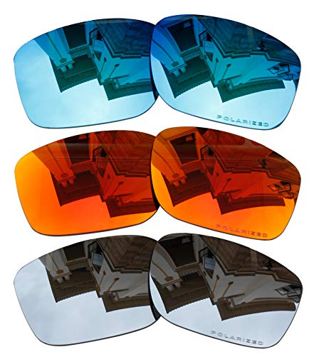 3 Pairs Polarized Replacement Lenses for Oakley Mainlink OO9264 Sunglasses Blue & Red & Black Iridium