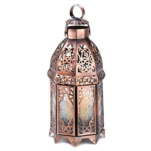 Gifts & Decor 57070486 COPPERY Moroccan Lantern, Brown