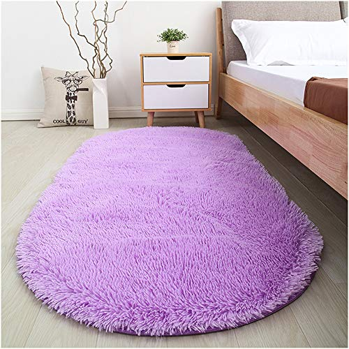 Softlife Soft Velvet Oval Area Rugs Modern Shaggy Carpet Cute Rug for Bedroom Girls Room Dining Room Home Decor 2.6' X 5.3' Purple