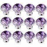 FirstDecor Purple Crystal Acrylic Glass Diamond Cut Knobs/Handles/Pulls for Kitchen Cabinets,Cupboards,Wardrobe,Drawer,Dresser, Closet,Checkroom (Set of 12 PCS)