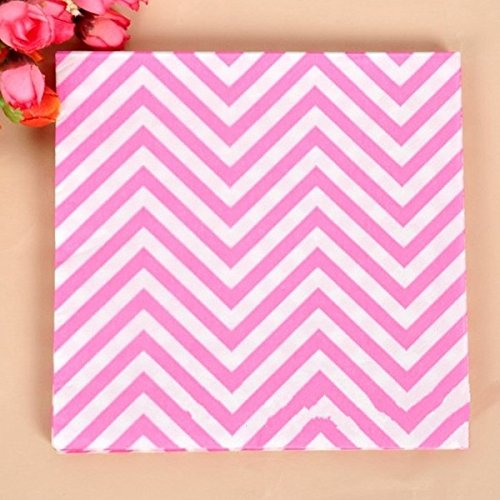 BoatShop 23 PCS Colored Wave Pattern Paper Napkins 2 Layers Party Banquet, Pink by BSK