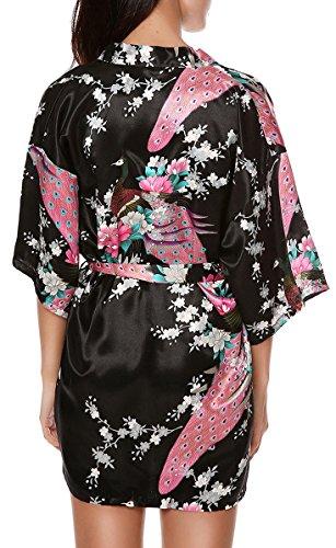 Luxurysmart Peacock Floral Satin Kimono Robe Bridesmaid Robes / Wedding Robe/ Bride Robe Sleepwear Nightgown Dark Blue