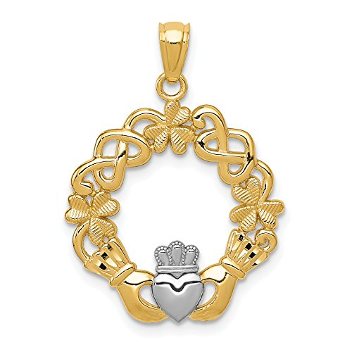 14k Two-Tone Yellow Gold Claddagh Pendant With Celtic Weave And Shamrock Clovers 28x20mm