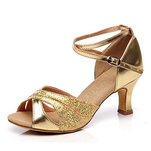 Zapatos Lentejuelas Latín Tobillo Zapatillas Hebilla Mujeres Pescado Cross Gold Sandalias Boca Medio Xianshu Baile Talón Correa q6Yw5qt8