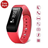 Smart Fitness Tracker Watch - SMBOX I5Plus (2018 New Version) IPX67 Waterproof, Detachable Strap Activity Tracker, Step Calories Counters, Sleep Monitor, Call / SMS Reminder, Fitness Watch Built-in USB Charger For Women Men Kids (Red)