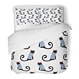 SanChic Duvet Cover Set French Cat Cute Cartoon Sitting Parisian Child Drawing Kitty Decorative Bedding Set with 2 Pillow Shams Full/Queen Size