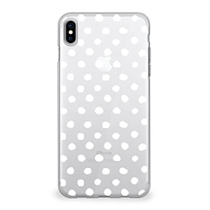 the latest ffdf3 0327b CasesByLorraine iPhone X Case, White Polka Dots Pattern Clear Transparent  Case Flexible TPU Soft Gel Protective Cover for Apple iPhone X (P75)