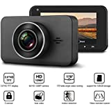 Car Dash Cam Full HD 1296P Car Recorder 3 LCD Screen + 170° Wide Angle Dashboard Camera Recorder with Mstar Solution, Loop Recording, G-Sensor and Night Vision