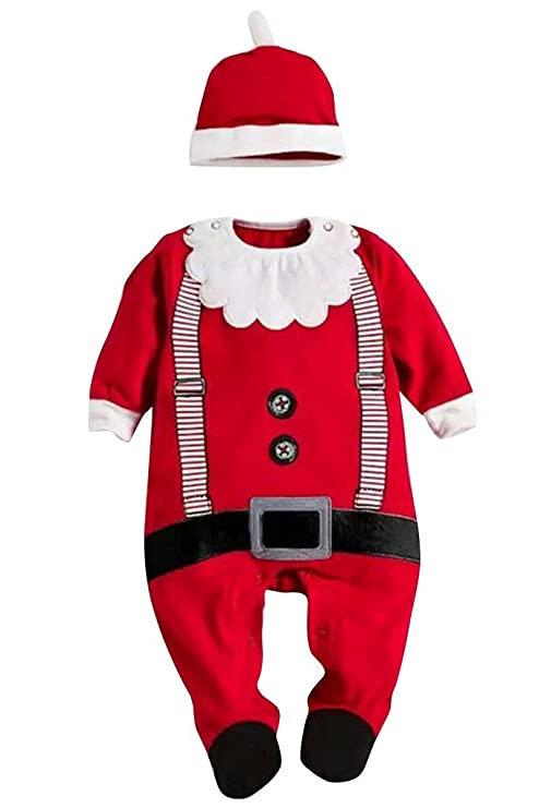 Drasawee Navidad Papá Noel manga larga Pelele y gorro a juego para bebé Niños disfraz,