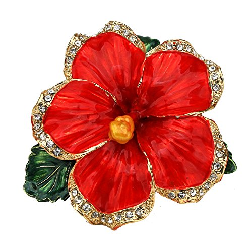 Red Hibiscus Flower Pewter Figurine Box - Swarovski Crystals, Jewelry Box, Keepsake Box (Small Collectible Boxes)