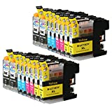 16 Pack - Compatible Ink Cartridges for Brother LC-103 LC-101 LC-103XL LC-103BK LC-103C LC-103M LC-103Y Inkjet Cartridge Compatible With Brother DCP-J152W MFC-J245 MFC-J285DW MFC-J4310DW MFC-J4410DW MFC-J450DW MFC-J4510DW MFC-J4610DW MFC-J470DW