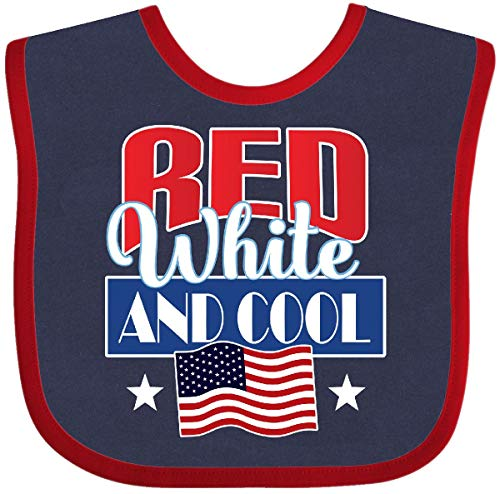 (Inktastic - July 4th Party Red White Cool Baby Bib Navy and Red 3036e)