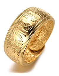 """Halukakah """"GOLD BLESS ALL"""" Men's 18K Gold Plated KANJI Ring RICH/LUCK/WEALTH Set Size Adjustable with FREE GIftbox"""