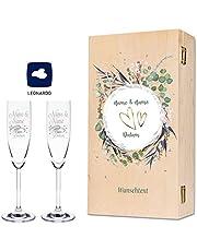Leonardo Champagneglas med gravering av namn och datum i – blombröllopsdesign – som en gåva för bröllop, förlovning eller årsdag – inkl. tryckt vintage-trälåda – bröllopspresent