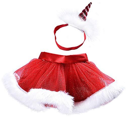 VSTON Christmas Little Red Skirt Girl Fluffy Tulle Skirt Tutu Skirt Ballet Skirt with Christmas Party 2-6T