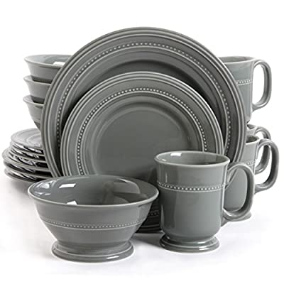 Gibson Elite Barberware 16 Piece Dinnerware Set, Gray - Service for four includes: 4 dinner plates, 4 dessert plates, 4 soup/salad bowls, 4 mugs Elegantly painted top grade porcelain Gray in color with beautiful rivets for a touch of quality design - kitchen-tabletop, kitchen-dining-room, dinnerware-sets - 51fxVKe9D9L. SS400  -