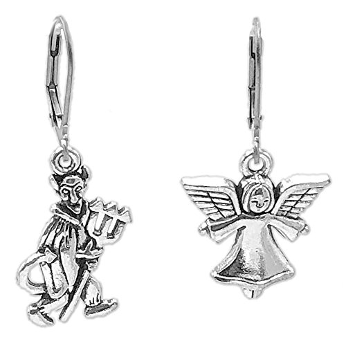 Sabai NYC Angel and Devil Earrings on Stainless Steel Leverback Earwires -