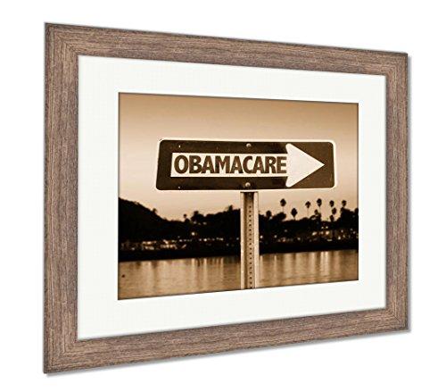 Ashley Framed Prints Obamacare Direction Sign  Wall Art Home Decoration  Sepia  26X30  Frame Size   Rustic Barn Wood Frame  Ag6456538