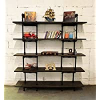 Industrial Wall Mounted Large Storage 5 Shelf Bookcase, Metal and Reclaimed Aged Wood Finish, 71 H