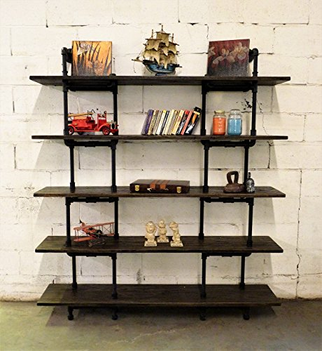 FURNITURE PIPELINE Industrial Wall Mounted Large Storage 5 Shelf Bookcase, Metal and Reclaimed Aged Wood Finish, 71'' H ()