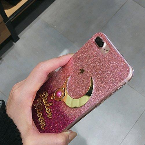 YAN Für iPhone 7 Plus Stern- und Mondmuster-Funkeln-Puder-Gradienten-schützende rückseitige Abdeckungs-Fall