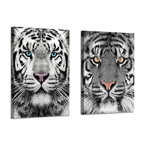 Tiger Canvas Art Wall Decor: Black & White Wild Animal Pictures Painting Print on Wrapped Canvas for Office (16'' x 12'' x 2 Panels)