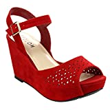 Beston BB43 Women's Ankle Strap Cut Out Platform Wedge, Color:RED, Size:9