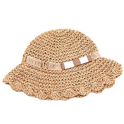 accsa Baby Girl Fedora Scallop Edge Straw Panama Bucket Hat Summer Beach Foldable UPF Sun Protection with Brim Age 12-36 Months Brown -
