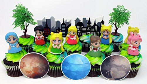 SAILOR MOON and Friends Birthday Party Cupcake Topper Set by Party Favors