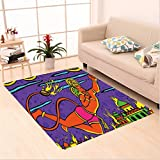 Nalahome Custom carpet edelic Traditional Indian Ramayan Epic Legend Divine God Culture Sacred Holy Avatar Design Multi area rugs for Living Dining Room Bedroom Hallway Office Carpet (5' X 7')