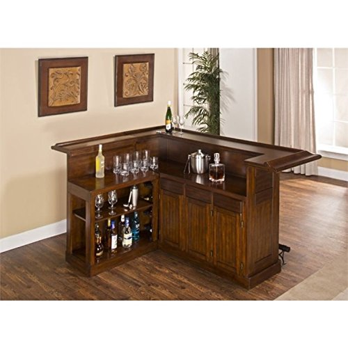 (BOWERY HILL L Shaped Home Bar in Brown Cherry )