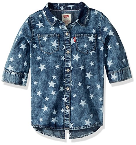 Levi's Little Girls' 3/4 Sleeve Western Denim Top, Weathered Indigo, (Sleeve Western Plaid Shirt)
