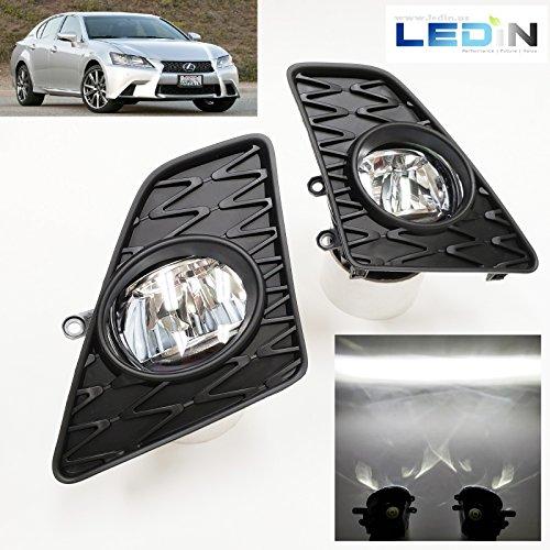 (LEDIN For 2013-2015 Lexus GS350 GS450h F-Sport Built-in LED Fog Driving Lights Kit with Bezel Switch Wires )