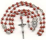 "Catholic Rosary - Red Mountain ""Jade"" / Papal Crucifix"