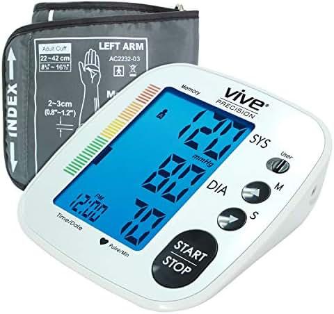 Vive Precision Blood Pressure Machine - Heart Rate Monitor - Automatic BPM Upper Arm Cuff - Sphygmomanometer for Hypertension and Accurate Pulse (Silver)