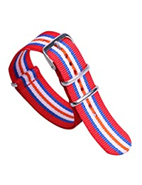 22mm Red/Blue/White/Orange Trendy Fashionable Nylon NATO style Watch Straps Bands Replacements for Men