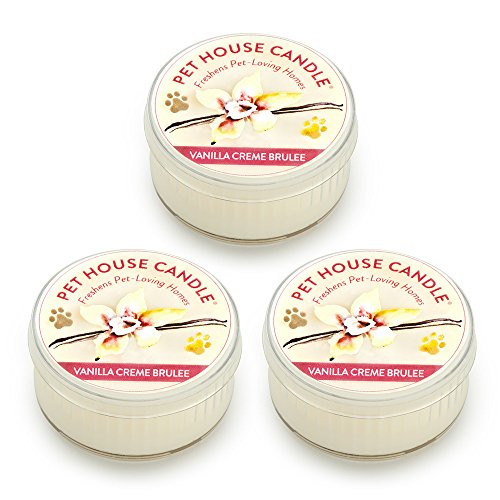 Pet House Mini Candle Set by One Fur All, Pack of 3 - Vanilla Creme Brulee - Pet Odor Eliminator Candle, Burn Time - 10-12 Hours Pet Candle, Non-toxic, Allergen-free & Ideal for Smaller Spaces (Wax Creme Candle)