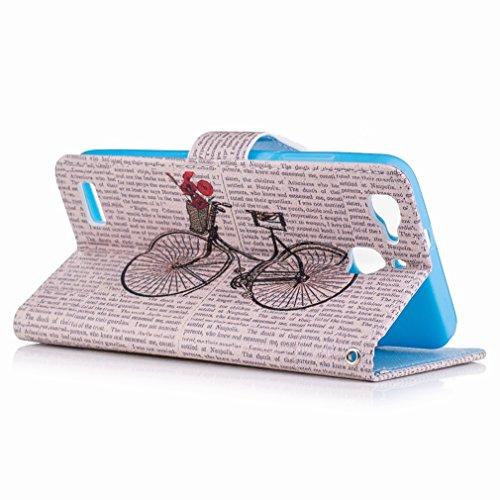Yiizy Huawei Enjoy 5s / Huawei GR3 Custodia Cover, Bicicletta Design Sottile Flip Portafoglio PU Pelle Cuoio Copertura Shell Case Slot Schede Cavalletto Stile Libro Bumper Protettivo Borsa