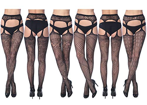 Frenchic Fishnet Women's Lace Stockings Tights Sexy Pantyhose Extended Sizes (Pack of 6) ... (1X - 2X, 2008)