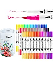 Ohuhu Art Markers Dual Tips Coloring Brush Fineliner Color Pens, 60 Colors of Water Based Marker for Calligraphy Drawing Sketching Coloring Book Bullet Journal Art