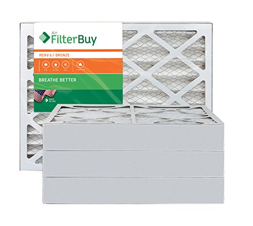 4 Door Air Conditioning - AFB Bronze MERV 6 20x20x4 Pleated AC Furnace Air Filter. Pack of 4 Filters. 100% produced in the USA.
