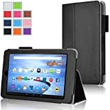 Fire 7 2015 Case , Exact [PRO Series] Professional Slim-Fit PU Leather Folio Case for Amazon Fire (5th Generation - 2015 release) Black