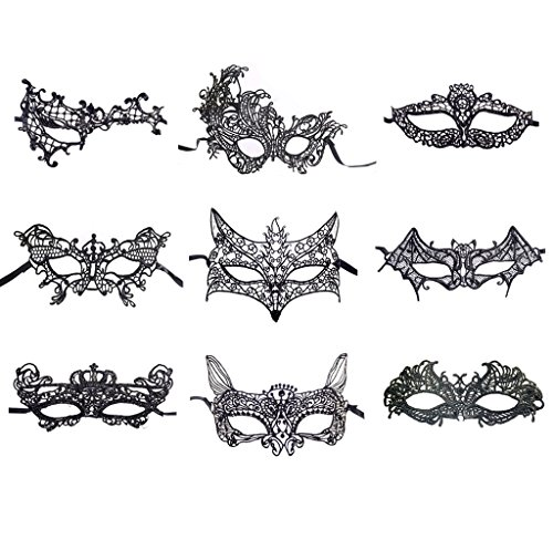 BAWASEEHI Sexy Black Lace Masquerade Masks for Women Venetian Style Eye Mask for Costume Ball Halloween Party, Set of 9