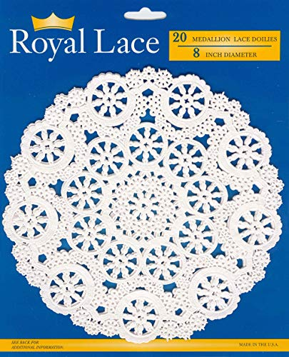 Royal Medallion Lace Round Paper Doilies, 8-Inch, Pack of 20 (B23004) ()