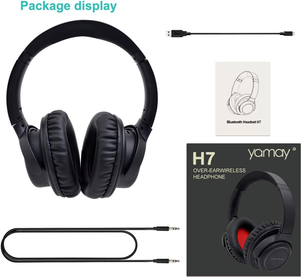 YAMAY Wireless Headphones Over Ear,Bluetooth Headphones with Hi-Fi Stereo Sound,Deep Bass,Wireless Headset with Mic,Foldable Headphones Soft Earmuff 20Hrs Playtime for Cell Phone PC TV At Home Office
