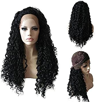 Lace Front Synthetic Wigs for Black Women African American with Bangs Straight Kinky Curly Long Pre