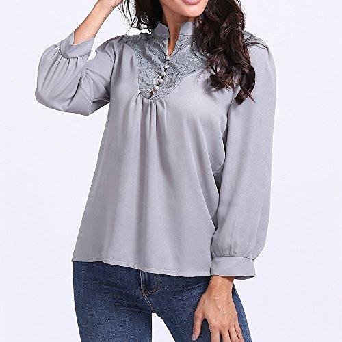 Col de Dentelle 2XL Gris Rond Sexy S avec Tunique Automne Shirt de Femme Solike Loose Manches Sport T Tops Mousseline Printemps Longues Tissu lgant Blouses PPfxOq