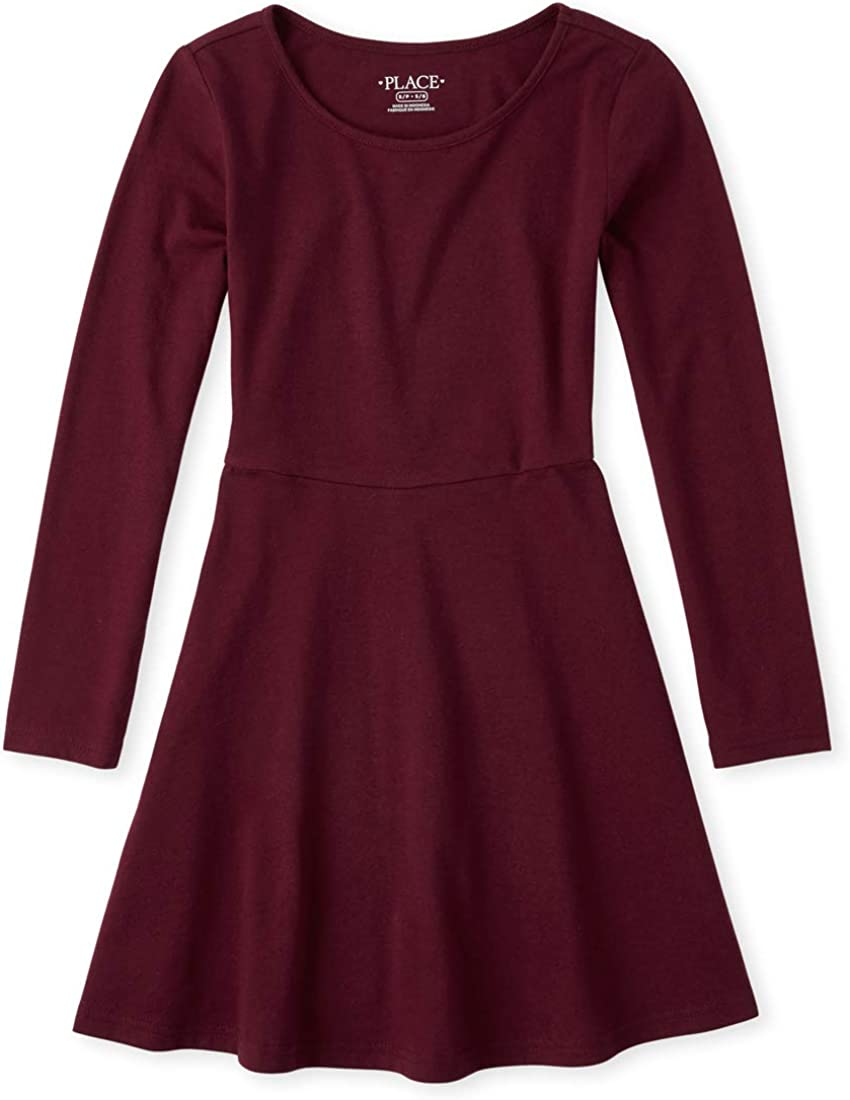 The Childrens Place Girls Big Solid Long Sleeve Pleated Knit Dress