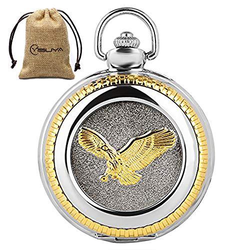 Vintage 3D Golden Flying Eagle Silver Snake Chain Luxury Quartz Pocket Watch Pendant Clock